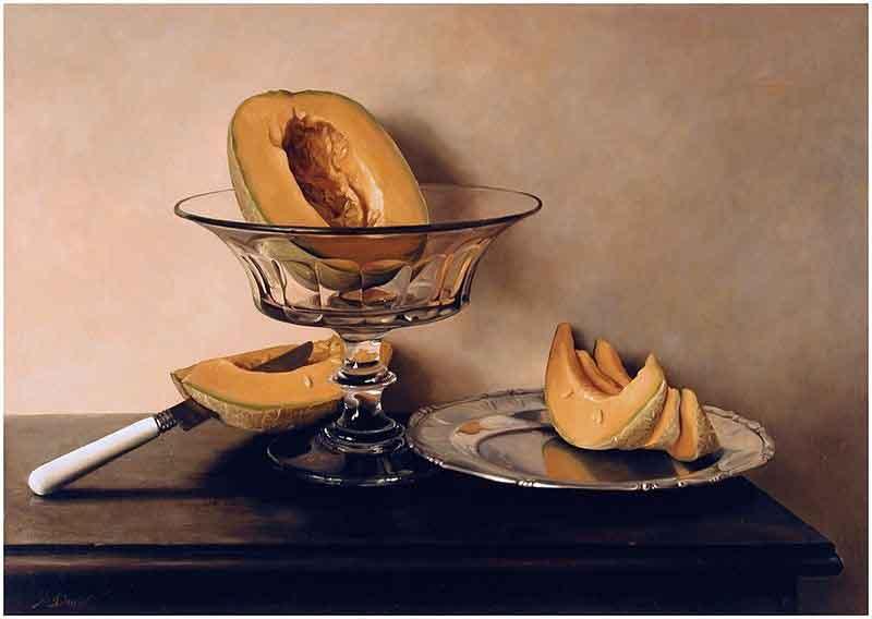 ظرف میوه با طالبی، یک نمونه نقاشی فزونواقعنما اثر مارو داوید.